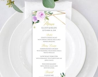 Purple Gold Geometric Editable Menu, Lilac Floral Table Wedding Menu, Printable Menu Template, Calligraphy, Instant Download, Templett 511-A