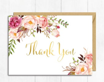 Gold Floral Thank You Card, Boho Thank You Card, Boho Baby Shower Thanks, Flat Postcard Style Thank Floral Thank You Instant Download 308-PG
