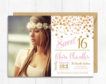 Pink and Gold Glitter Sweet Sixteen Photo Printable Birthday Invite, Confetti 16th Birthday Invitation, Gold Sweet 16 Invite Download 323-PG