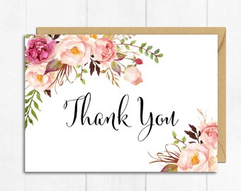 Pink Floral Thank You Card, Boho Thank You Card, Boho Baby Shower Thanks, Flat Postcard Style Thank, Floral Thank You Instant Download 308-W