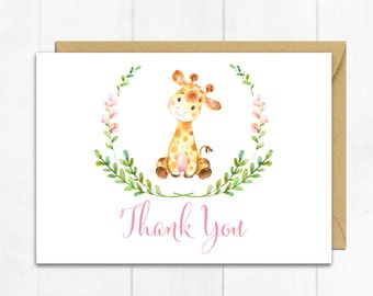 Pink Giraffe Thank You Card, Baby Girl Thank You Card, Giraffe Baby Shower Thanks, Flat Postcard Style Thanks, Girl Instant Download 307-P