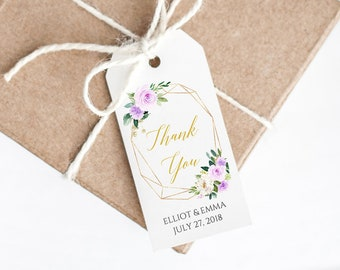 Purple Gold Geometric Editable Tags, Printable Lilac Floral Favor Tags, Lavender Gift Tags, DIY Template, Instant Download, Templett, 511-A