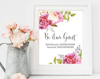 Hydrangea Wifi Printable Sign, Be our Guest Wifi Sign, Wifi Password Printable, Guest Room Sign, Custom Wifi Password Print, Download 401-A