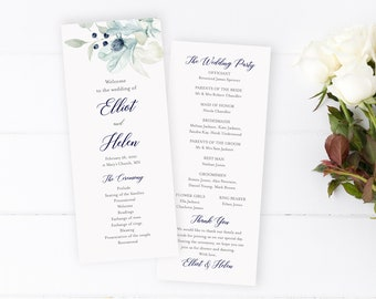 Winter Wedding Program, Navy Silver Gray Floral Editable Program, Blue Winter Foliage Printable Program Template, Download Templett 544-A