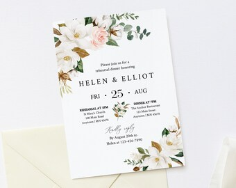 Magnolia Cotton Editable Rehearsal Dinner Invitation, White Blush Floral Rehearsal Invite DIY Template, Printable, Instant Download, 524-A