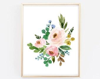 Boho Floral Printable Wall Art, Pink Roses Home Decor, Floral Nursery Art Print, Roses Girls Room Art, Pink Floral Boho Decor Download 605-A