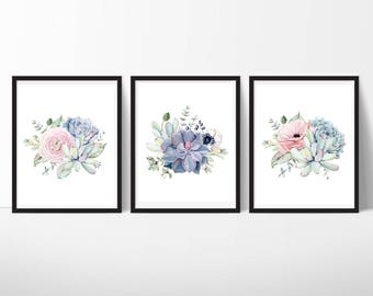Succulent Printable Art, Watercolor Succulent Home Decor, Botanical Wall Art, Plant Art Gift, Modern Scandi, Set of 3, Instant Download