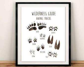 Animal Tracks Printable Wall Art, Wilderness Guide Nursery Art Print, Woodland Field Guide, Boys Room Art, Baby Boy Decor, Download 611-A