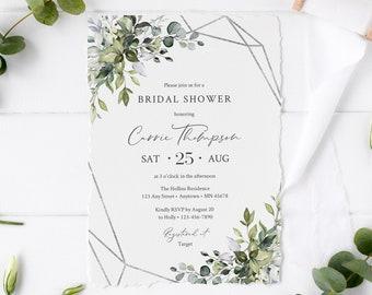 Silver Geometric Foliage Editable Bridal Shower Invitation, Eucalyptus Shower Invite DIY Template, Printable, Green, Instant Download, 568-A