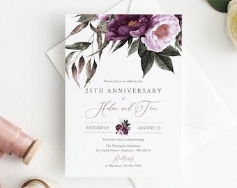 Purple Lilac Floral Editable Anniversary Party Invitation, Plum Lavender Anniversary Invite, DIY Template, Instant Download, Templett, 527-A