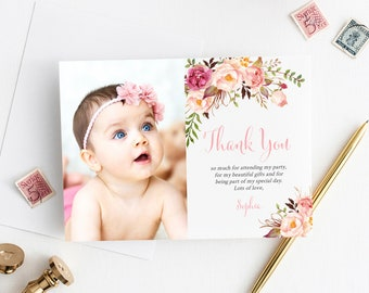 Photo Boho Thank You Card, Editable Pink Floral Printable Thank You Template, Baptism Birthday Baby Shower Thank You Instant Download 308-PG