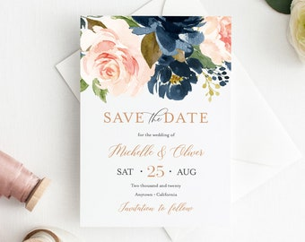 Editable Rose Gold Navy Blush Save the Date DIY Template, Printable Save the Date, Pink Blue Boho, Templett, Instant Download 542-A