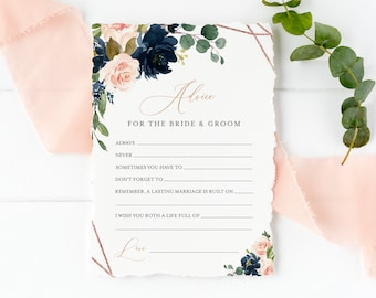 Editable Navy Rose Gold Geometric Advice for the Bride and Groom, Pink Printable Bridal Shower Template, Advice Card, Instant Download 529-A