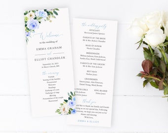 Editable Blue Floral Program, Blue White Greenery Wedding Program, Blue Boho Printable Ceremony Program Template, Download Templett, 547-A