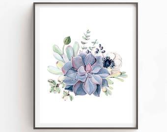 Printable Succulent Wall Art, Succulent Art Print, Watercolor Home Decor, Botanical Wall Art, Plant Art Gift, Modern Scandi Instant Download