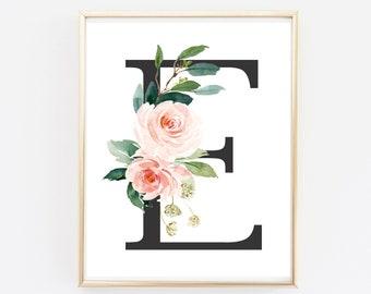 Blush Grey Monogram Boho Printable Wall Art, Floral Monogram Nursery Art Print, Monogram Nursery Art, Pink Girl, Decor Gift, Download 614-A