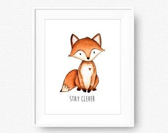 Stay Clever Little Fox Nursery Printable Art, Woodland Animals Fox Wall Art, Fox Wall Art, Kids Room Decor, Watercolor Fox, Instant Download
