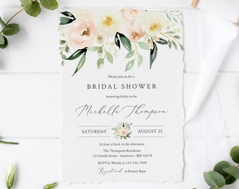 Greenery Ivory Blush Floral Editable Bridal Shower Invitation, Pink Shower Invite DIY Template, Printable, Foliage, Instant Download, 536-A