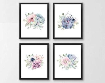 Printable Succulent Wall Art, Watercolor Succulent Home Decor, Botanical Wall Art, Plant Art Gift, Modern Scandi, Set of 4, Instant Download