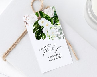 Editable Orchid Protea Favor Tags, Printable Tropical Floral Tags, Tropical Greenery DIY Tag Template, Instant Download, Templett, 546-A