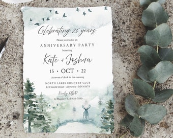 Forest Editable Anniversary Party Invitation, Deer Stag Rustic 25th 30th 40th 50th Anniversary DIY Template, Forest Instant Download 570-A