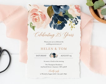 Editable Pink Blue Rose Gold Anniversary Party Invitation, Navy Blush 25th 30th 40th 50th Anniversary DIY Template, Instant Download 542-A