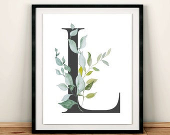 Leaves Grey Monogram Printable Wall Art, Botanical Monogram Nursery Art Print, Foliage Print, Green Grey, Boy Art Decor Gift, Download 615-A