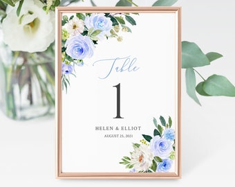 Blue Floral Editable Table Numbers, Printable Wedding Table Numbers, Greenery Blue White DIY Template, Instant Download, Templett, 547-A