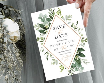 Greenery Rose Gold Editable Save the Date, Botanical Printable Save the Date DIY Template, Foliage Frame Save Date, Instant Download, 528-A