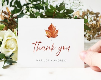 Printable Maple Leaf Thank You Cards, Editable Burnt Orange Minimal Thank You DIY Template, Fall Autumn, Instant Download Templett 567-A