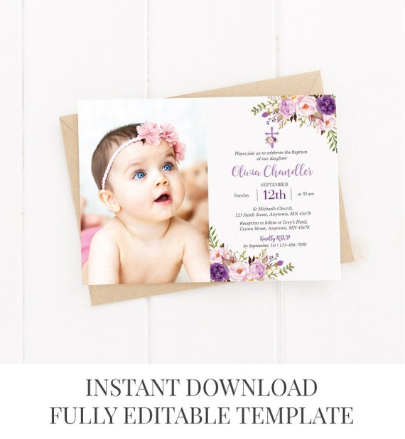 Printable Purple Photo Boho Baptism Invite Template Editable | Etsy