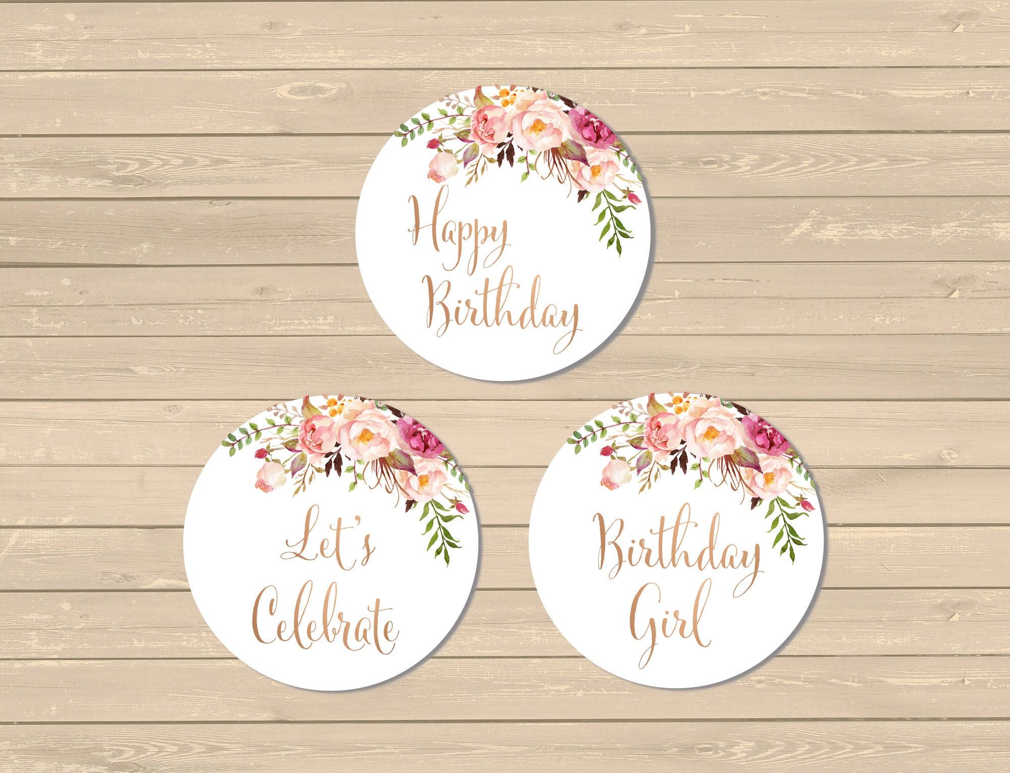 Printable Rose Gold Boho Cupcake Toppers Boho Birthday Party Decor Rose Gold Buffet Decor Floral Cupcake Toppers Instant Download 308 Rg