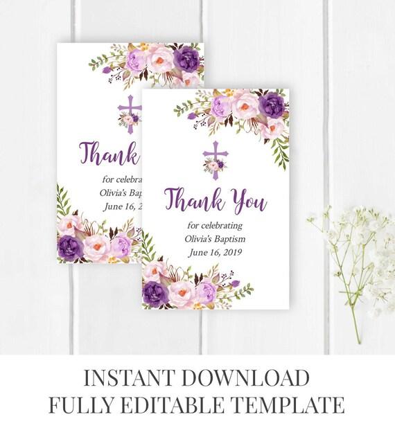 purple boho floral baptism favor tag template printable etsy