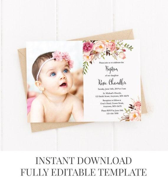 printable photo boho baptism invite editable floral baptism etsy