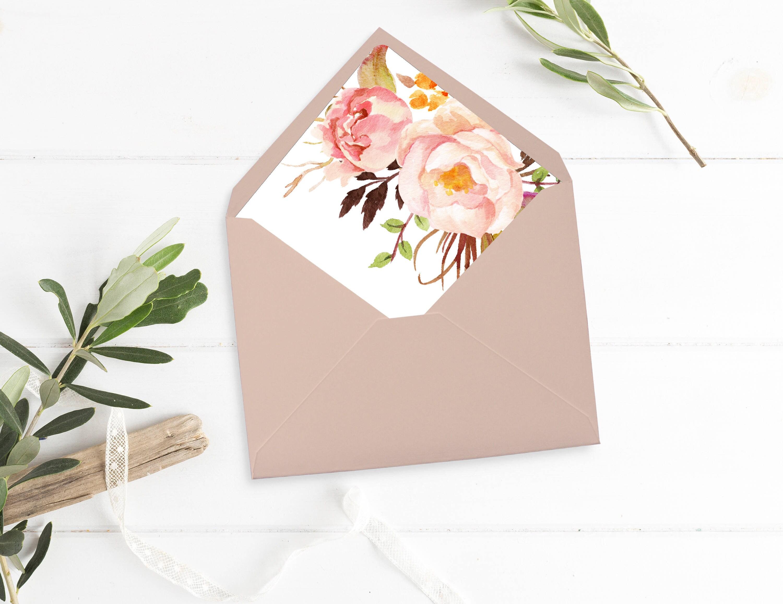 Pink Watercolor Floral Envelope Liners