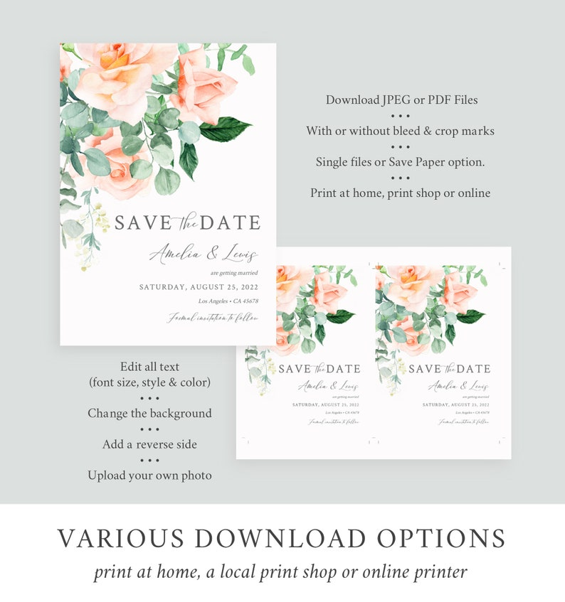 Peach Greenery Printable Save our Date DIY Template Eucalyptus Date Card Instant Download 551-A Peach Floral Editable Save the Date Roses