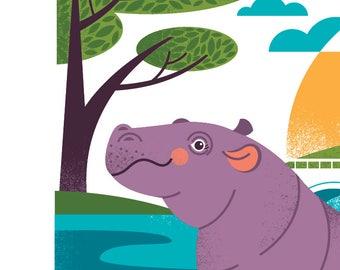 "Fiona the Hippo print- 8X10"""
