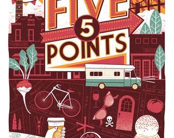Nashville Neighborhood Poster Series- 3, FIVE POINTS
