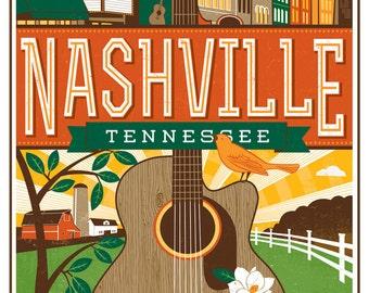Nashville Travel poster- Guitar