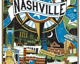 Nashville Travel poster- Landmarks