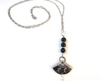 Downton Abbey Vintage Style Black and Silver Opera Length Necklace
