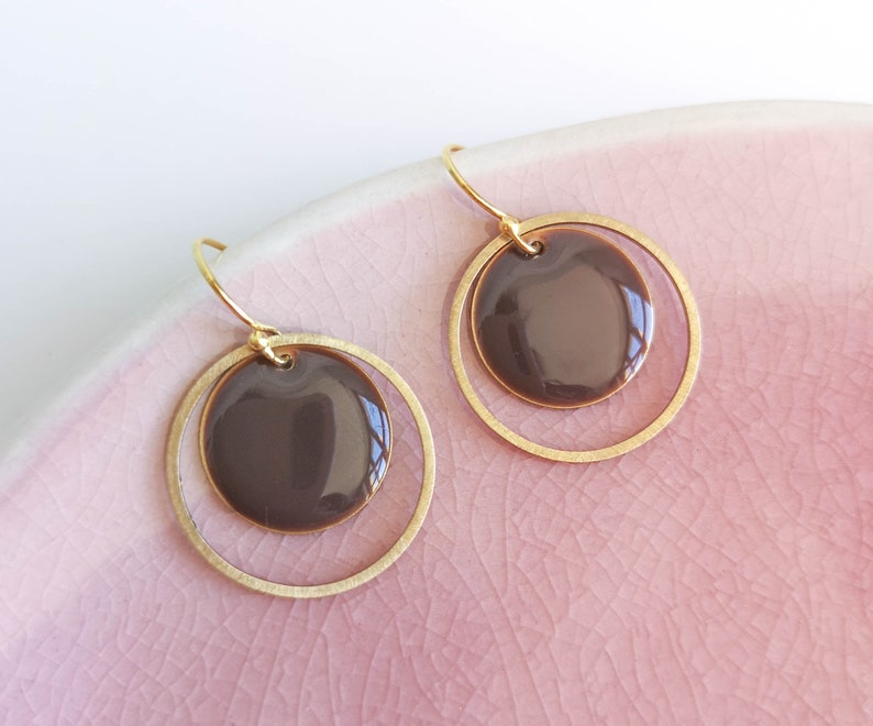 gifts for her different colors DOUBLE IN Enamel earrings chocolate brown