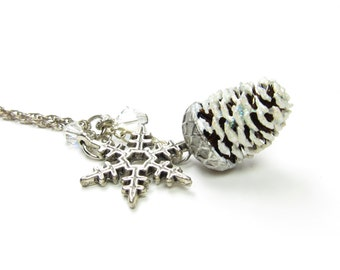 Pine Cone Necklace with Snowflake Charm Pendant Miniature Pinecone on Sterling Silver Chain