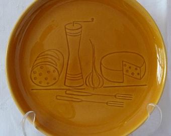 Mid Century German Ceramic Fondue Plates Four Entertaining Party