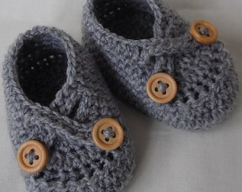 Grey Baby Shoes, Crochet Baby Booties, Crochet Shoes, Baby Shoes, Newborn Baby Shoe, Infant Boots, Newborn Shoes CHOOSE COLOUR