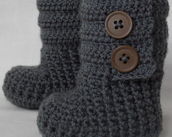Baby Booties, Baby Shoes, Dark Grey Boots for Baby, Newborn Boots, Crochet Baby Booties, choose your size and colour