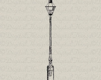 Vintage lamp post outdoor light wall decor art printable etsy vintage lamp post light wall decor art printable digital download for iron on transfer fabric pillows tea towels dt395 aloadofball Image collections