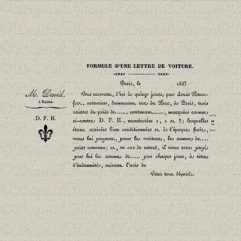 French Letter Paris French Script Fleur de Lis French Decor Printable Digital Download for Iron on Transfer Fabric Pillows Tea Towels DT495