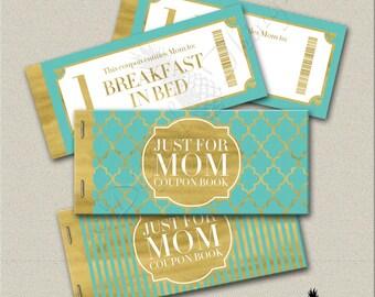 Faux Gold Foil Printable Coupon Book Mothers Day Gift Coupons Gift For Mom Coupons Gift For Her Digital Download PDF Instant Download DT1817