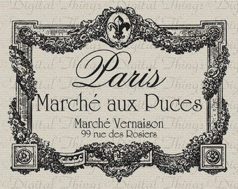 Paris Flea Market French Script Fleur de Lis Wall Decor Art Printable Digital Download for Iron on Transfer Fabric Pillows Tea Towel DT854